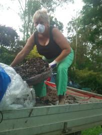 Generous friend Jenny delivering mushroom compost